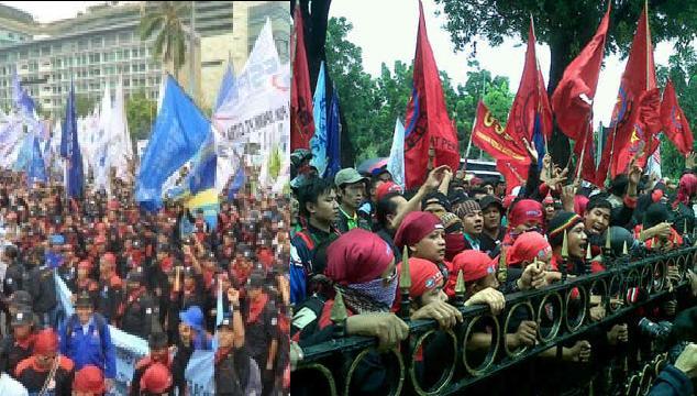 Pengunjuk rasa robohkan pagar Balaikota.