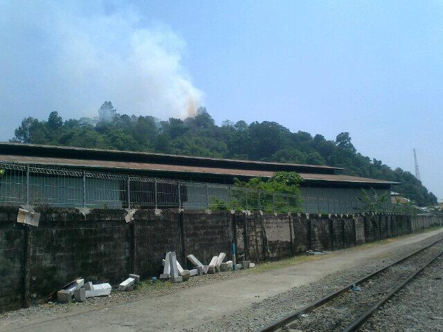 Kebakaran hutan di Bukit Putus. FOTO/Twitter/PUisiJinggass