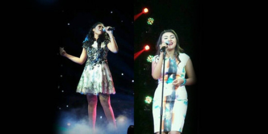 Dewi dan Miranti, dua kontestan Indonesian Idol 2014 yang harus pulang pada Double Elimination, Jumat (14/3) malam. FOTO/KAPANLAGI