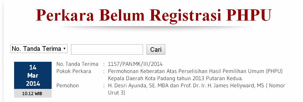 Gugatan tim Advokasi Desri-James terkait penolakan hasil Pilkada Padang putaran kedua pada Perkara Belum Registrasi PHPU Mahkamah Konstitusi. FOTO/MK/WEB