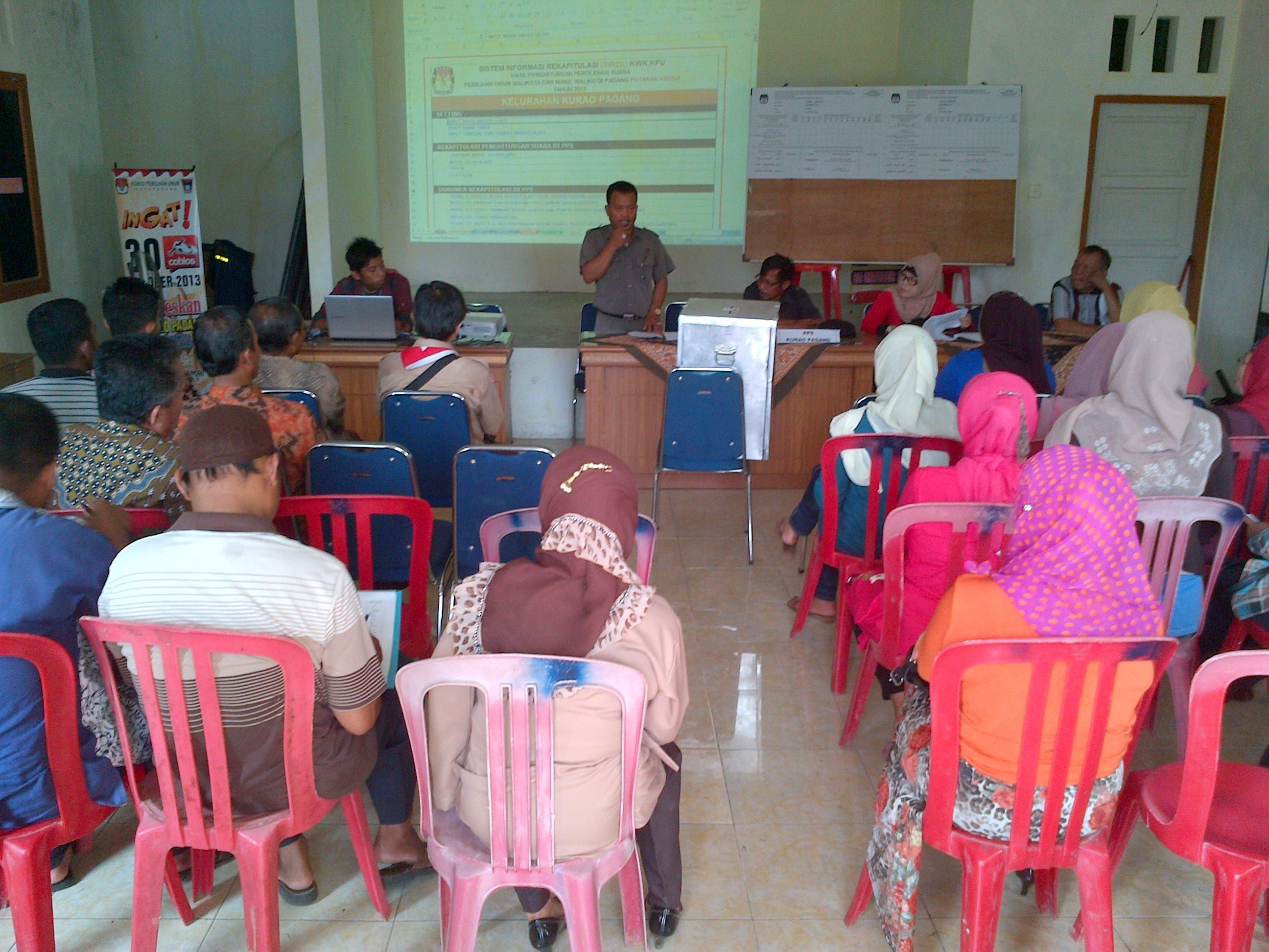 Rapat pleno rekapitulasi suara tingkat PPS di Kurao Pagang. FOTO/H