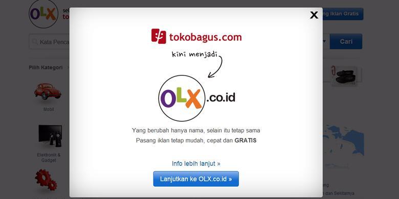 Tampilan dan pergantian nama Tokobagus.com menjadi olx.co.id