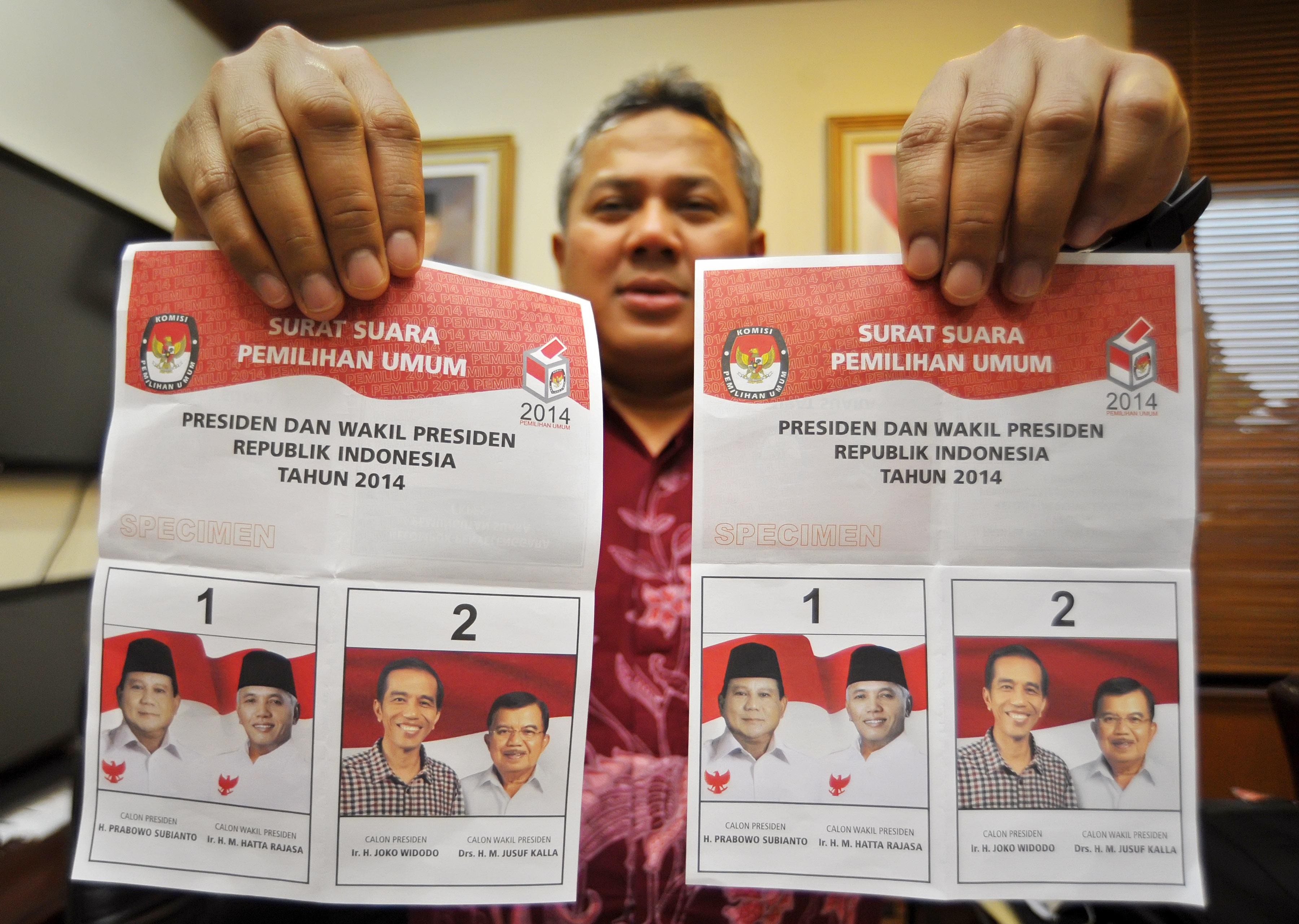 Contoh Surat Suara Pemilu Presiden 9 Juli. Foto : Antara