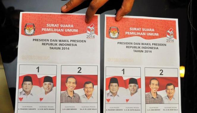 Ilustrasi surat suara Pilpres 2014. Foto : VIVA