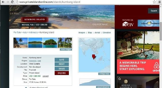 Screen Shoot penjualan Pulau Kumbang, Kabupaten Pesisir Selatan pada situs www.privateislandsonline.com. Foto : Istimewa