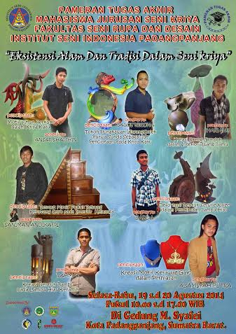 Pamflet acara Pameran Mahasiswa Jurusan Kriya ISI PadangPanjang.