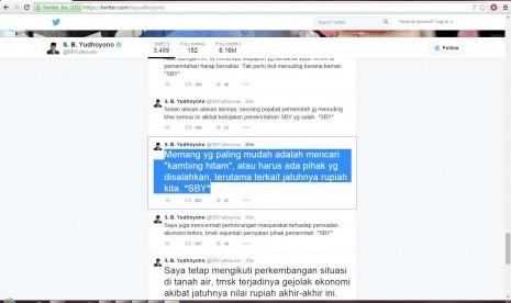 Timeline @SBYudhoyono. Foto : Republika