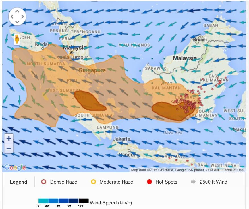 Wilayah paling terdampak diindikasikan dengan area berwarna Cokelat Tua. Sumber: ASMC HAZE - GAW KOTOTABANG