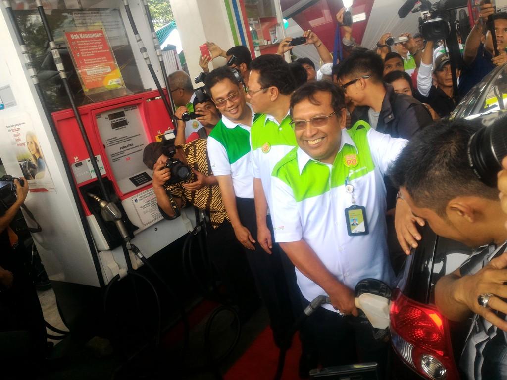 Direktur Pemasaran PT Pertamina, Ahmad Bambang saat Aktivasi Pertalite di Sumbar. Foto : Istimewa
